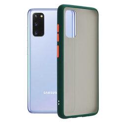Husa Samsung Galaxy S20 Mobster Chroma Cu Butoane Si Margini Colorate - Verde Inchis