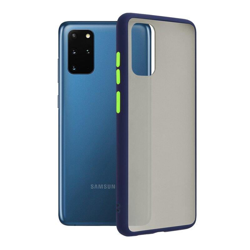 Husa Samsung Galaxy S20 Plus 5G Mobster Chroma Cu Butoane Si Margini Colorate - Albastru