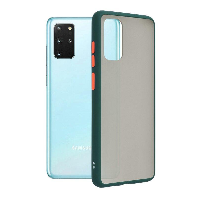 Husa Samsung Galaxy S20 Plus Mobster Chroma Cu Butoane Si Margini Colorate - Verde Inchis