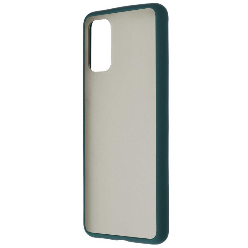 Husa Samsung Galaxy S20 Plus 5G Mobster Chroma Cu Butoane Si Margini Colorate - Verde Inchis