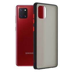 Husa Samsung Galaxy Note 10 Lite Mobster Chroma Cu Butoane Si Margini Colorate - Negru