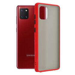 Husa Samsung Galaxy Note 10 Lite Mobster Chroma Cu Butoane Si Margini Colorate - Rosu