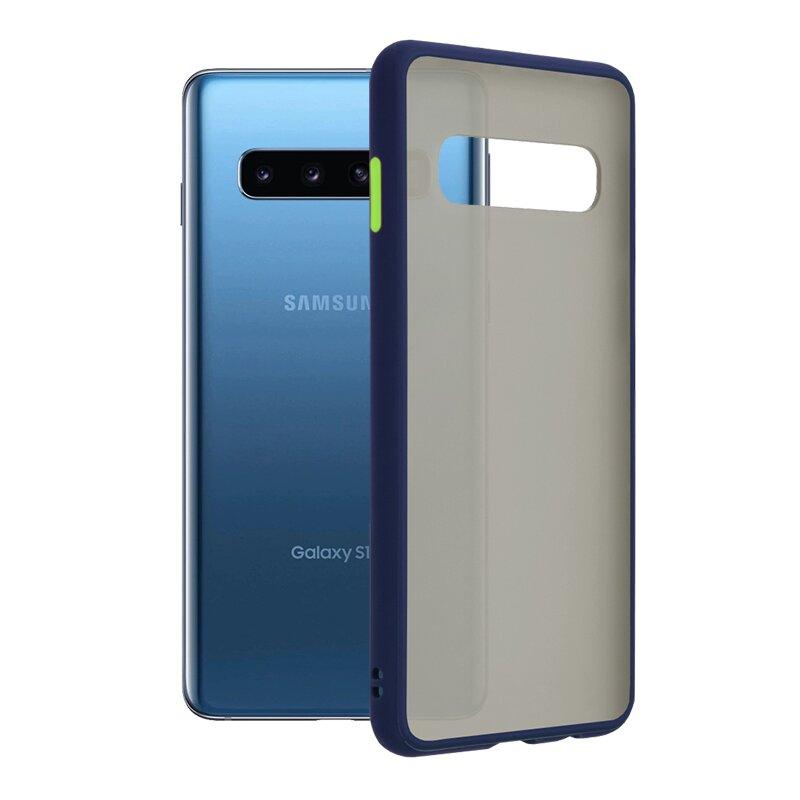 Husa Samsung Galaxy S10 Mobster Chroma Cu Butoane Si Margini Colorate - Albastru
