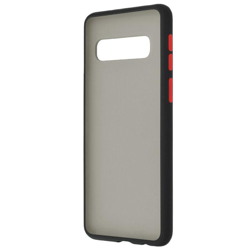 Husa Samsung Galaxy S10 Mobster Chroma Cu Butoane Si Margini Colorate - Negru