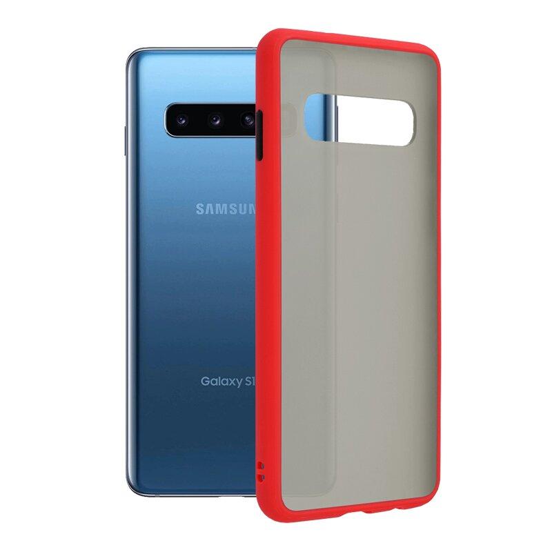 Husa Samsung Galaxy S10 Mobster Chroma Cu Butoane Si Margini Colorate - Rosu