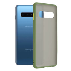 Husa Samsung Galaxy S10 Mobster Chroma Cu Butoane Si Margini Colorate - Verde Deschis