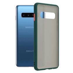 Husa Samsung Galaxy S10 Mobster Chroma Cu Butoane Si Margini Colorate - Verde Inchis