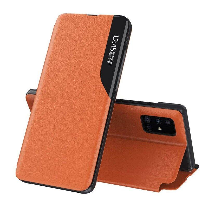 Husa iPhone 12 Pro Eco Leather View Flip Tip Carte - Portocaliu