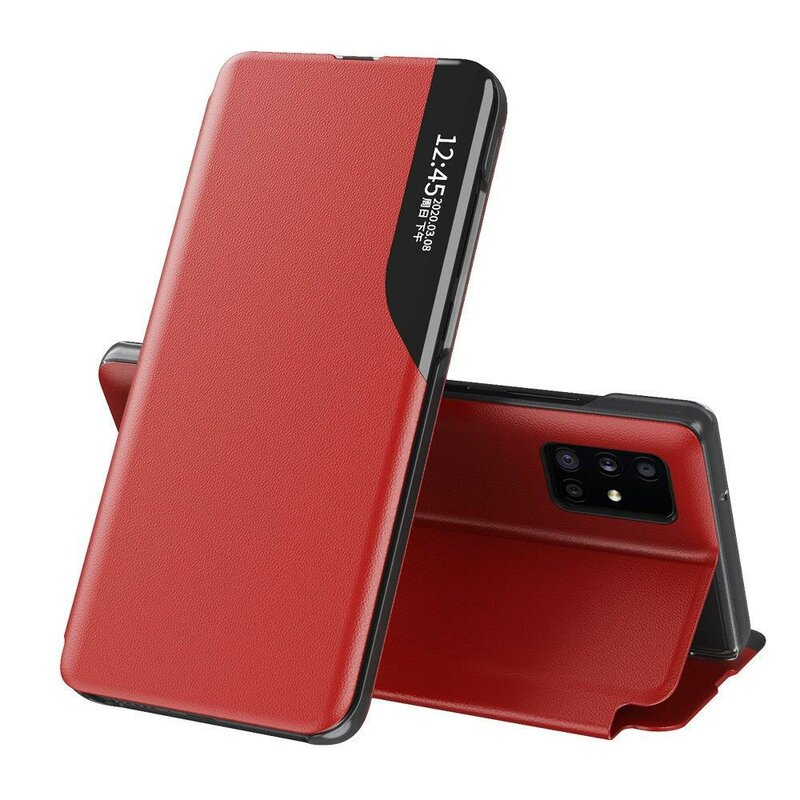 Husa iPhone 12 Pro Eco Leather View Flip Tip Carte - Rosu