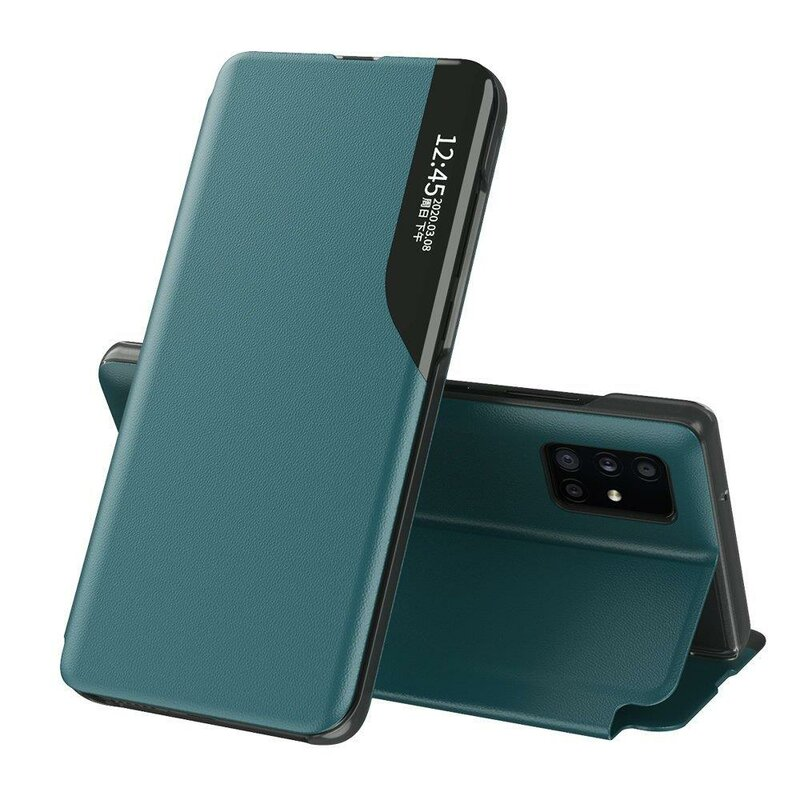 Husa iPhone 12 Pro Max Eco Leather View Flip Tip Carte - Verde