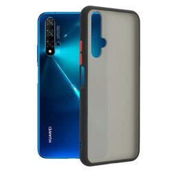 Husa Huawei Nova 5T Mobster Chroma Cu Butoane Si Margini Colorate - Negru