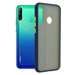 Husa Huawei Y7p Mobster Chroma Cu Butoane Si Margini Colorate - Albastru