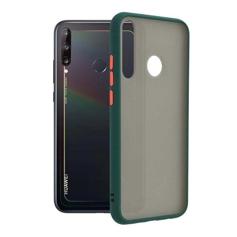 Husa Huawei P40 Lite E Mobster Chroma Cu Butoane Si Margini Colorate - Verde Inchis