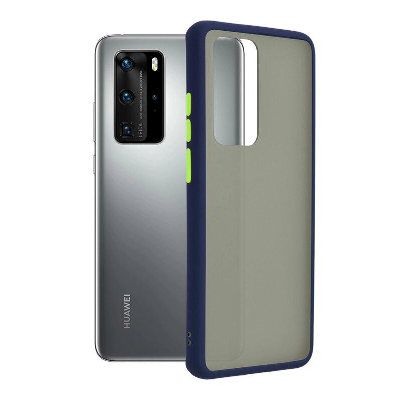 Husa Huawei P40 Pro Mobster Chroma Cu Butoane Si Margini Colorate - Albastru