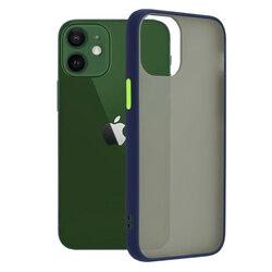 Husa iPhone 12 Mobster Chroma Cu Butoane Si Margini Colorate - Albastru