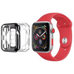 [Pachet 2x] Husa Apple Watch SE 44mm Dux Ducis Silicon - Negru si Transparent