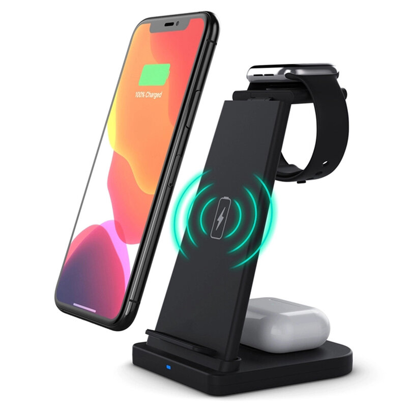 Incarcator wireless Mobster B-12, iPhone, AirPods, iWatch, 15W, negru