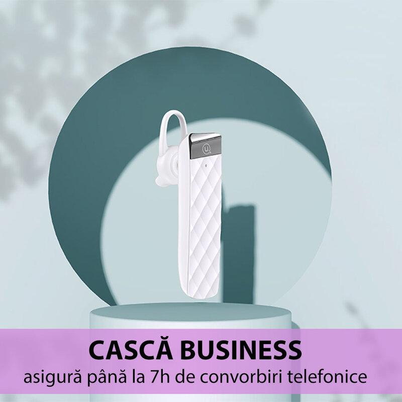 Casca wireless universala USAMS BT1 cu Bluetooth si microfon, alb