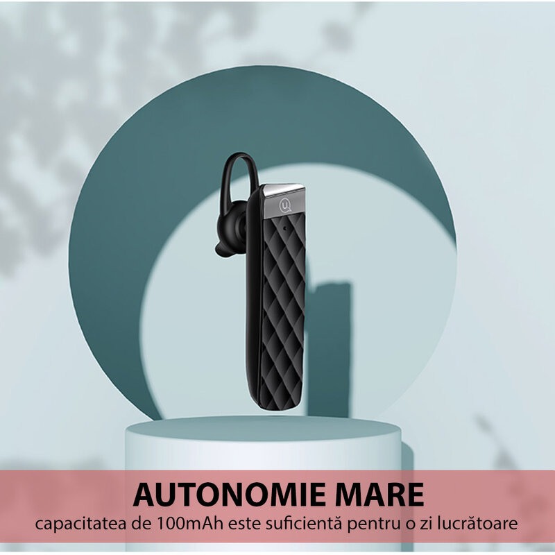 Casca wireless universala USAMS BT1 cu Bluetooth si microfon, negru