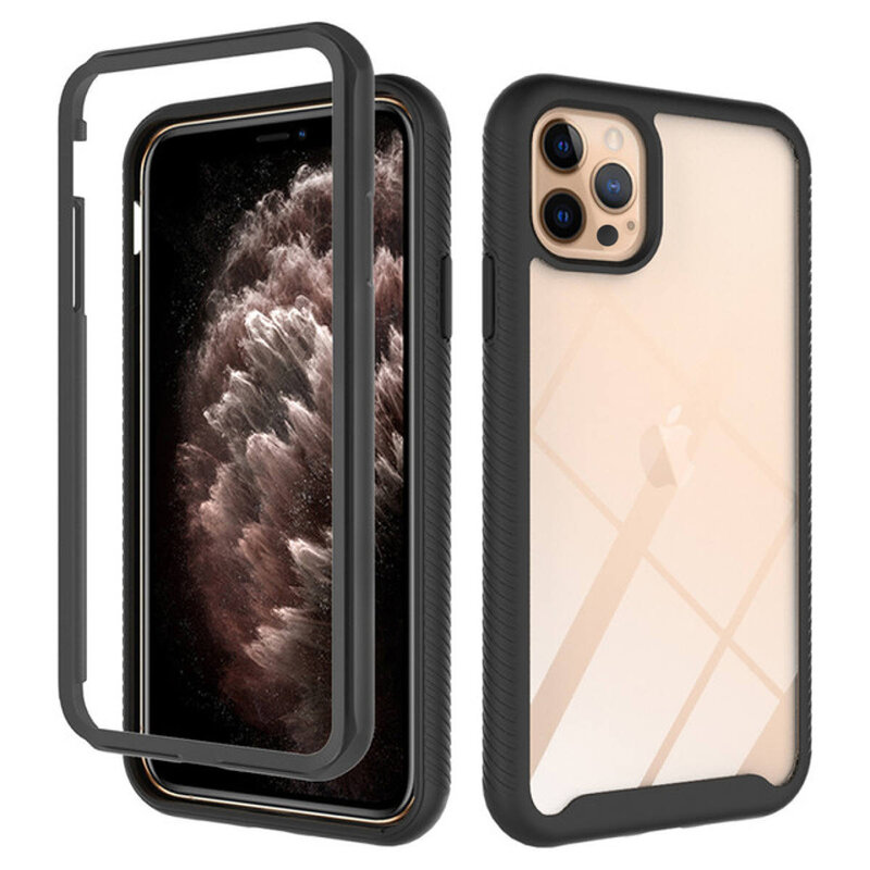 [Pachet 360°] Husa + Folie iPhone 12 Pro Techsuit Defense, Negru