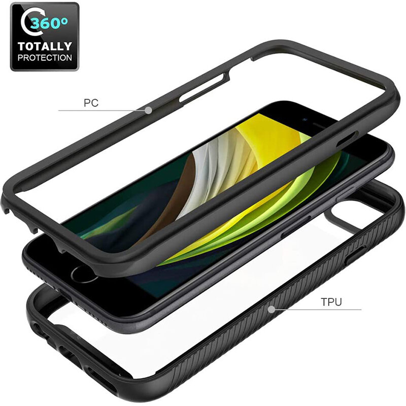 [Pachet 360°] Husa + Folie iPhone SE 2, SE 2020 Techsuit Defense, Negru