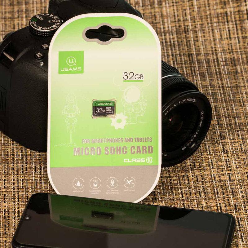 Card De Memorie USAMS Micro SDHC 32GB Clasa 10 Pentru Telefoane Si Tablete - Gri/Verde