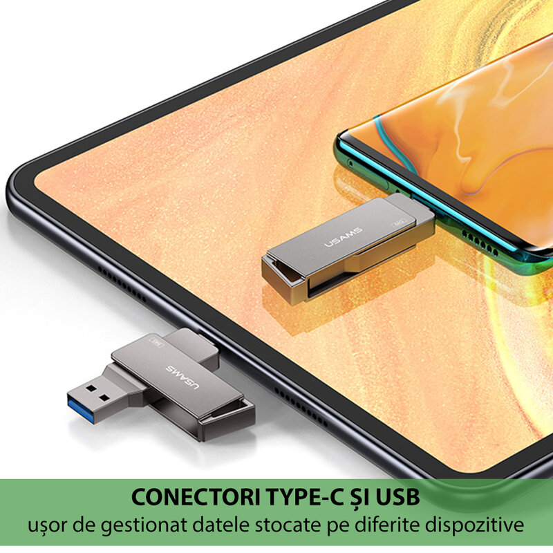 Stick de memorie USB, Type-C 256GB USAMS flash drive, gri, US-ZB202