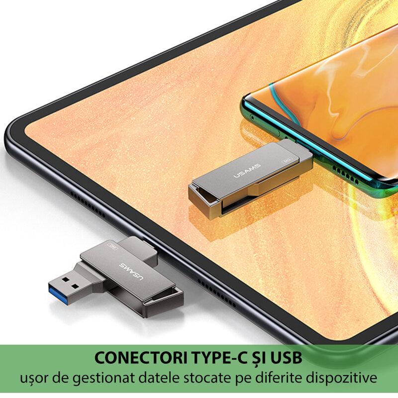Stick de memorie USB, Type-C 32GB USAMS flash drive, gri, US-ZB199