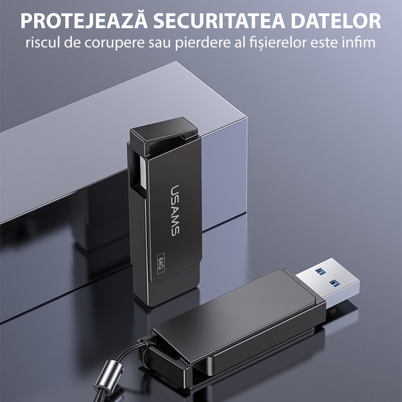 Stick de memorie USB 32GB USAMS flash drive, negru, US-ZB195