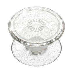 Popsockets Original, Suport Cu Functii Multiple, Clear Glitter Silver