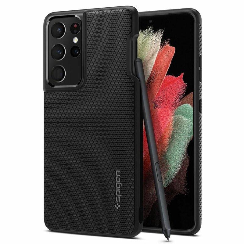 Husa Samsung Galaxy S21 Ultra 5G Spigen Liquid Air cu suport stylus pen - Matte Black