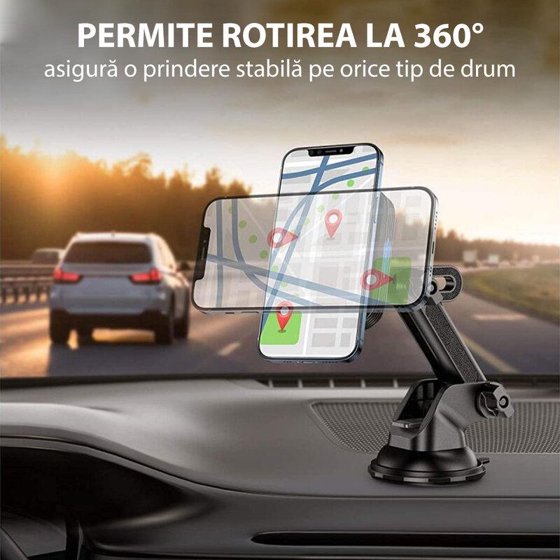 Suport auto cu incarcare wireless iPhone 12 ESR Halolock, prindere parbriz, bord, negru