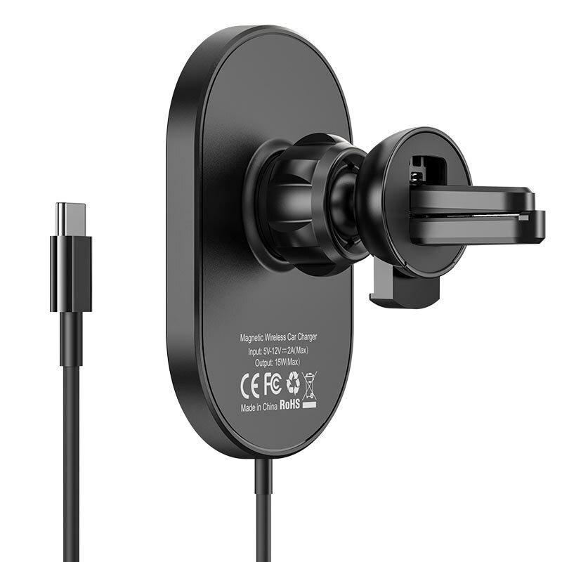 Suport telefon auto Hoco CA90, incarcare wireless, grila ventilatie, negru