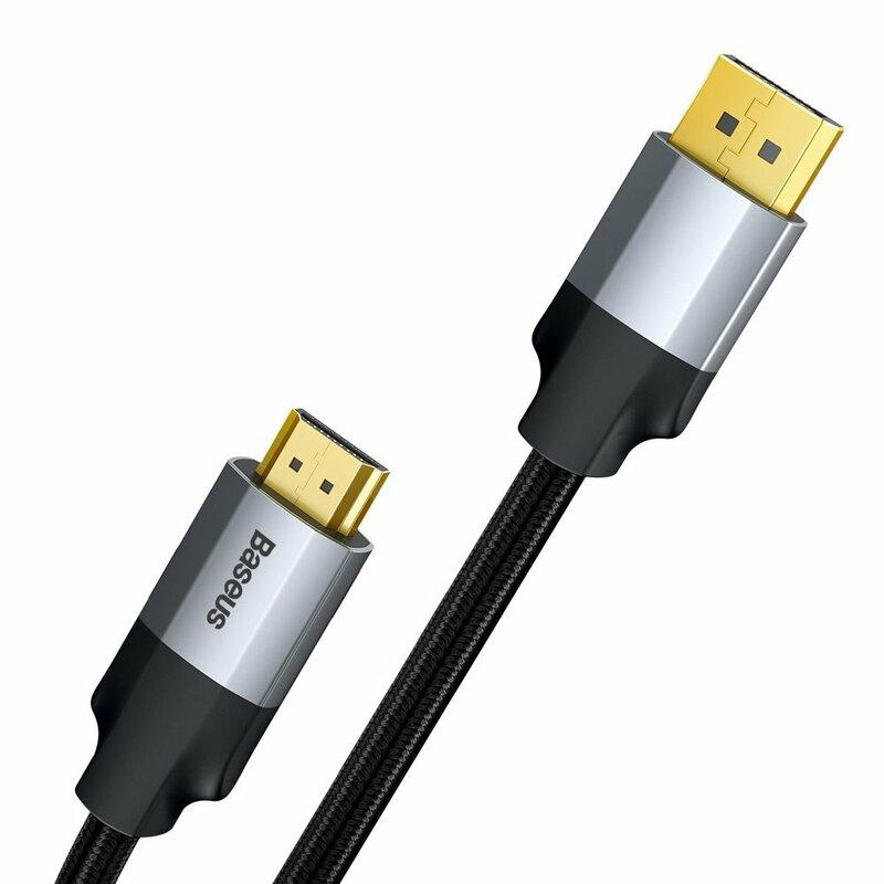 Cablu adaptor DisplayPort la HDMI Baseus, convertor video 4K@60Hz, 2m, gri, CAKSX-I0G