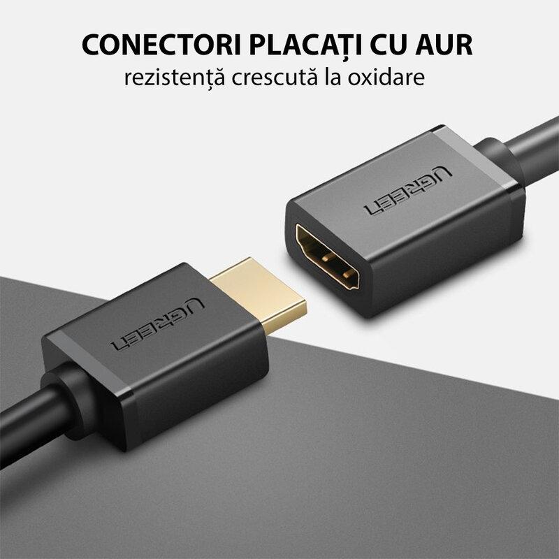 Prelungitor HDMI 4K, cablu video adaptor 3D Ugreen, 10Gbps, 1m, negru, 10141