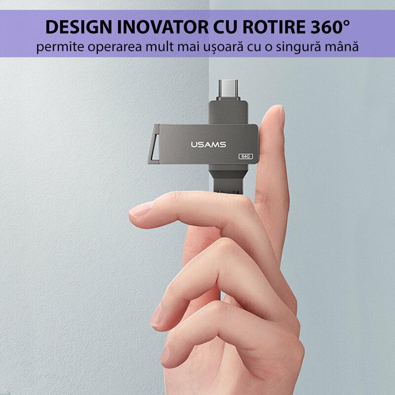 Stick de memorie USB, Type-C 64GB USAMS flash drive, gri, US-ZB200
