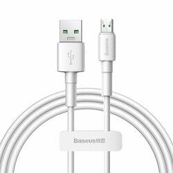 Cablu de date USB la Micro-USB Baseus, 4A, 20W, 1m, alb, CAMSW-D02
