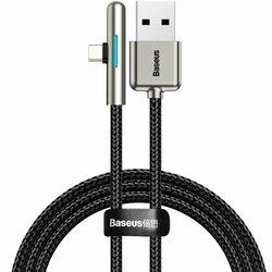 Cablu de date Baseus USB la Type-C 90°, 4A, 40W, 0.5m, negru, CAT7C-A01
