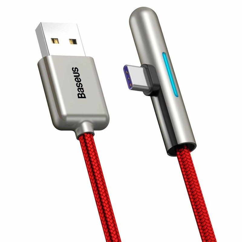 Cablu de date Baseus USB la Type-C 90°, 4A, 40W, 1m, rosu, CAT7C-B09