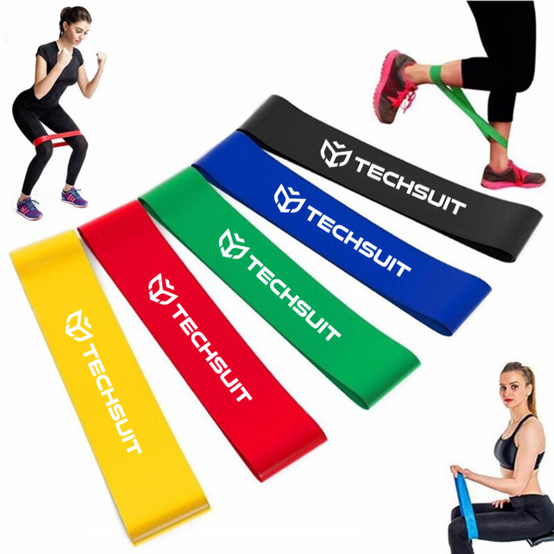 Set antrenament Techsuit, 5 benzi elastice fitness, yoga, pilates, aerobic, exercitii fizice