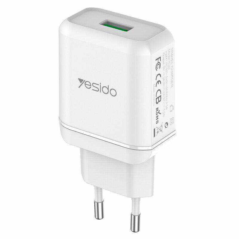 Incarcator priza Yesido YC22, USB-A QC3.0 18W, 3A, alb