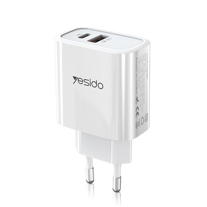 Incarcator priza Yesido YC24, USB-A QC3.0, Type-C PD 18W, 3A, alb