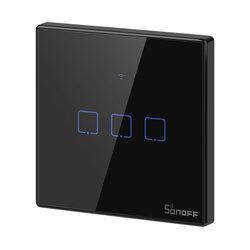 Intrerupator smart touch Wi-Fi triplu Sonoff T3, RF 433 MHz, negru