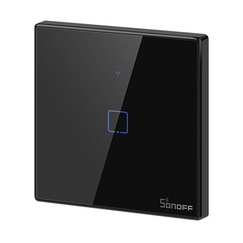 Intrerupator smart touch Wi-Fi simplu Sonoff T3, RF 433 MHz, negru