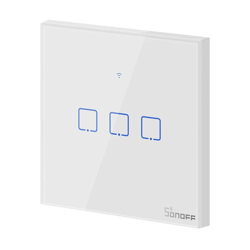 Intrerupator smart touch Wi-Fi triplu Sonoff T0, wireless, alb