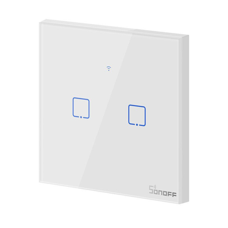 Intrerupator smart touch Wi-Fi dublu Sonoff T0, wireless, alb