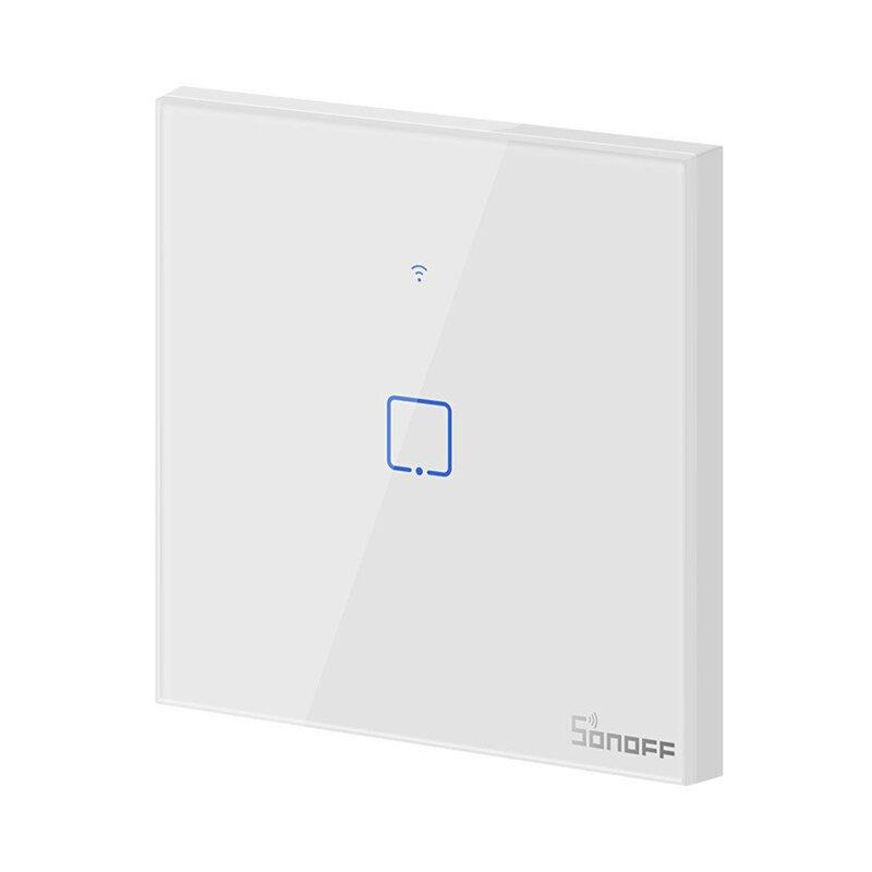 Intrerupator smart touch Wi-Fi simplu Sonoff T0, wireless, alb