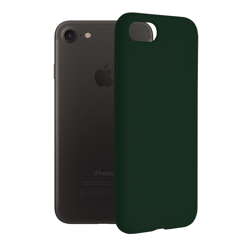 Husa iPhone SE 2, SE 2020 Techsuit Soft Edge Silicone, verde inchis