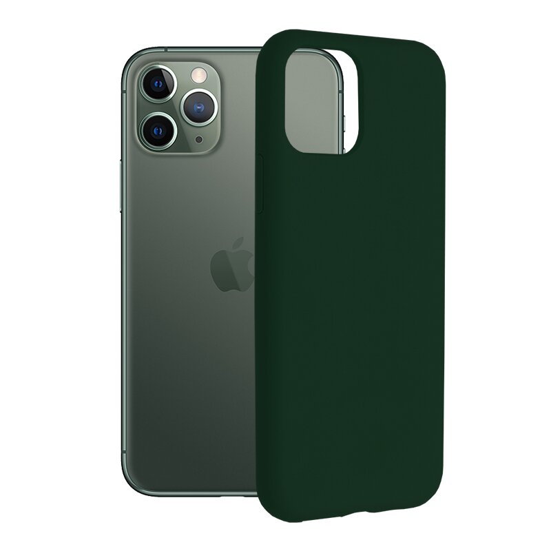 Husa iPhone 11 Pro Techsuit Soft Edge Silicone, verde inchis