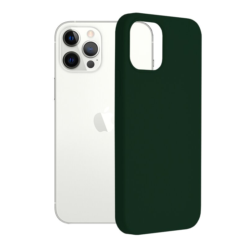 Husa iPhone 12 Pro Techsuit Soft Edge Silicone, verde inchis